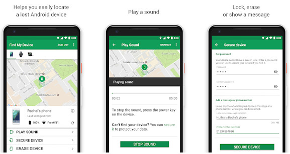 google find my device application for anti theft application for android