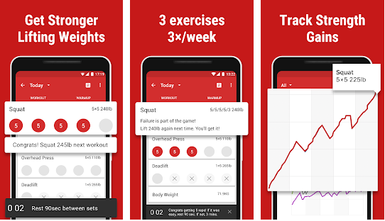 StrongLifts 5 ×5 best bodybuilding apps for Android