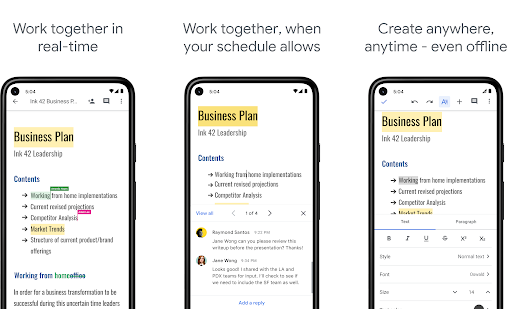 google docs best writer application for android