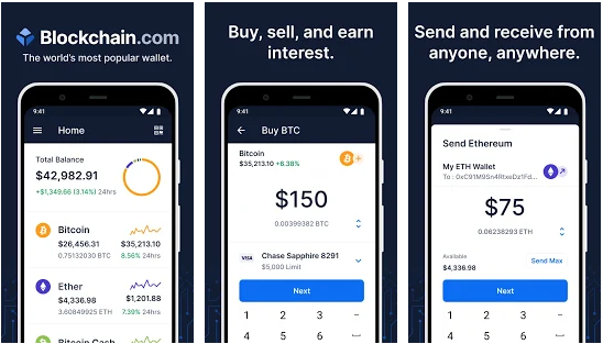 Blockchain Wallet cryptocurrency apps for Android