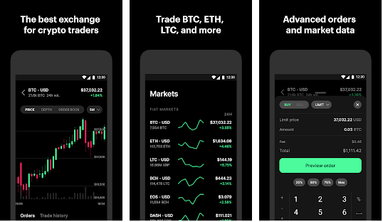 Coinbase Pro cryptocurrency apps for Android